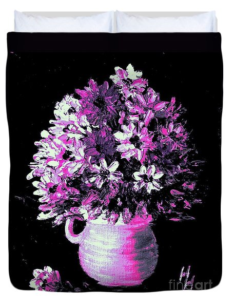 Hot Pink Flowers Duvet Cover