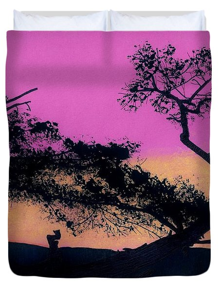 Duvet Cover featuring the drawing Hot Pink Sunset by D Hackett