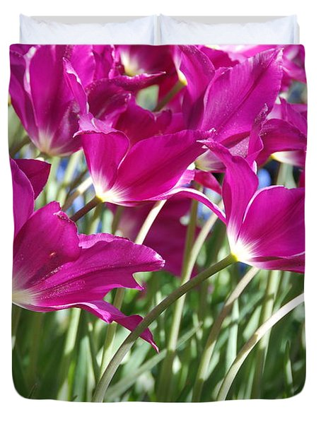 Duvet Cover featuring the photograph Hot Pink Tulips 2 by Allen Beatty