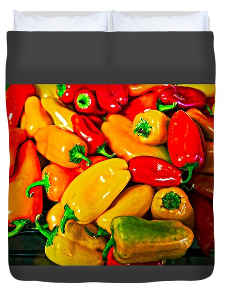 Hot Red Peppers Duvet Cover