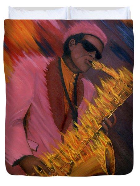 Hot Sax Duvet Cover by Jeff McJunkin