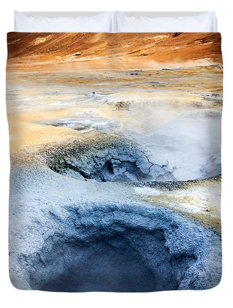 Duvet Cover featuring the photograph Hot Springs At Namaskard In Iceland by Peta Thames