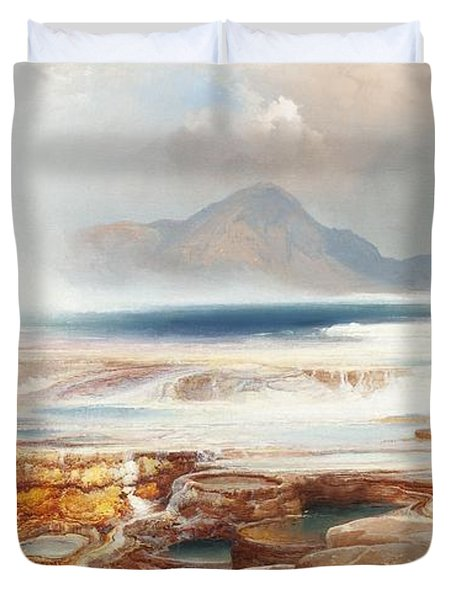 Hot Springs Of Yellowstone Duvet Cover by Thomas Moran