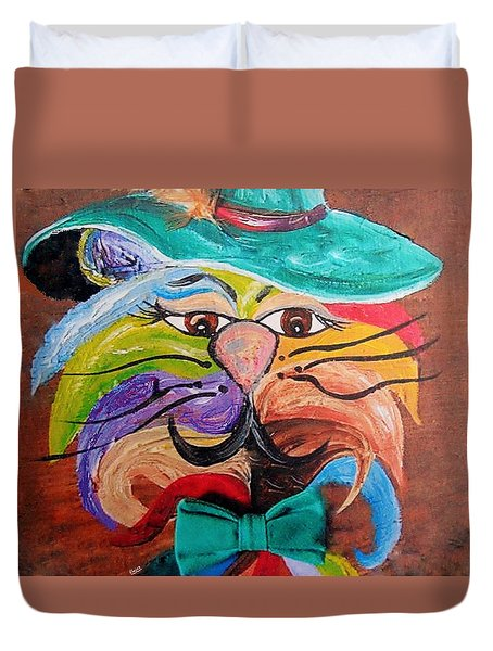 Duvet Cover featuring the painting Hot Stuff - One Cool Cat   by Eloise Schneider