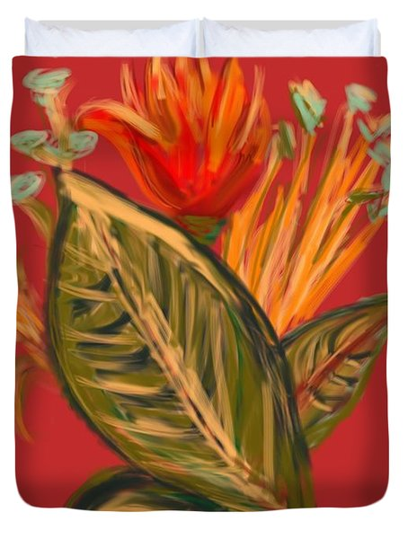 Duvet Cover featuring the digital art Hot Tulip L by Christine Fournier