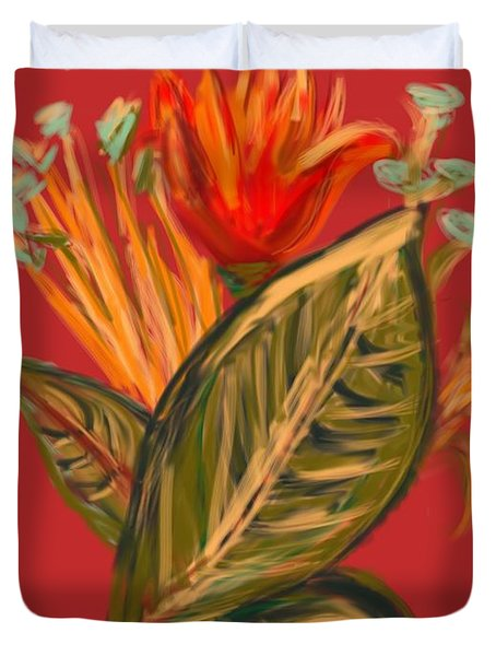 Duvet Cover featuring the digital art Hot Tulip R by Christine Fournier