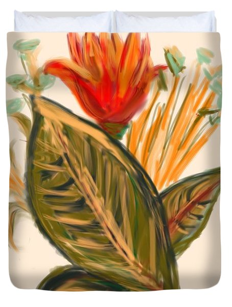 Duvet Cover featuring the digital art Hot Tulip Spring by Christine Fournier