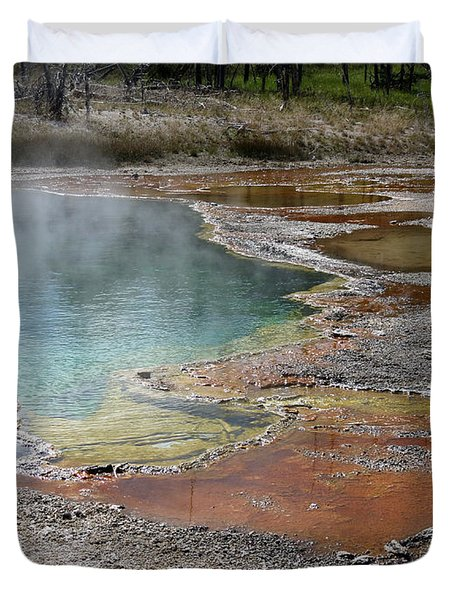 Duvet Cover featuring the photograph Hot Water At Yellowstone by Laurel Powell