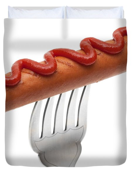 Hotdog Sausage On Fork Duvet Cover by Amanda Elwell