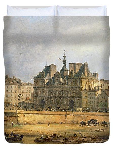Hotel De Ville And Embankment, Paris, 1828 Oil On Canvas Duvet Cover