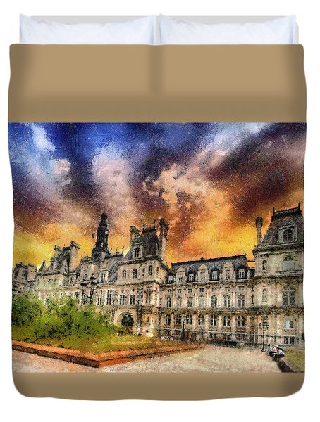 Sunset At The Hotel De Ville Duvet Cover