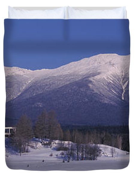 Hotel Near Snow Covered Mountains, Mt Duvet Cover