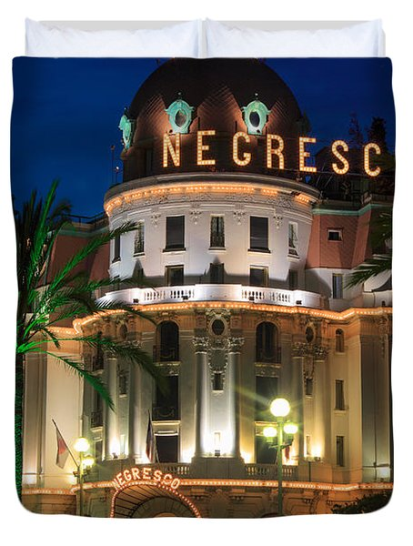 Hotel Negresco By Night Duvet Cover by Inge Johnsson