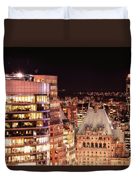 Duvet Cover featuring the photograph Hotel Vancouver And Wall Center Mdccv by Amyn Nasser