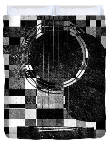 Hour Glass Guitar Random Bw Squares Duvet Cover