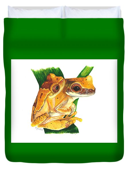 Hourglass Treefrog Duvet Cover by Cindy Hitchcock