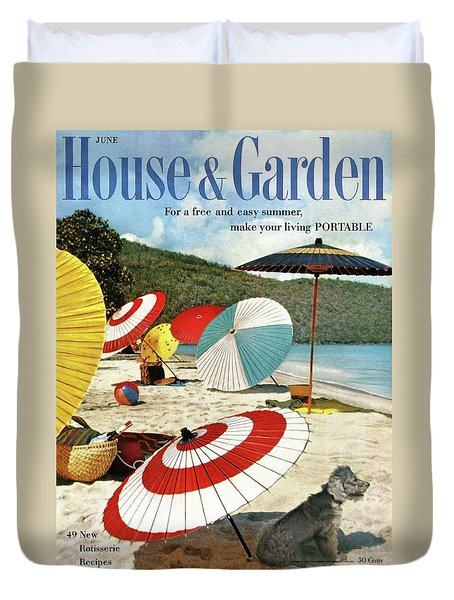 House And Garden Featuring Umbrellas On A Beach Duvet Cover