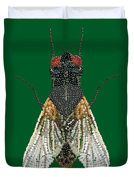 House Fly In Green Duvet Cover