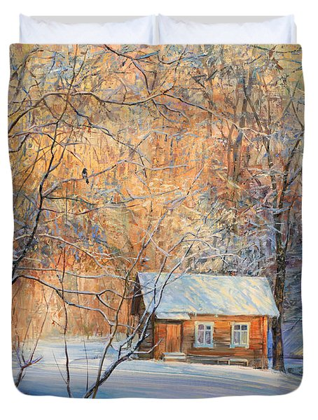 House In The Winter Forest  Duvet Cover