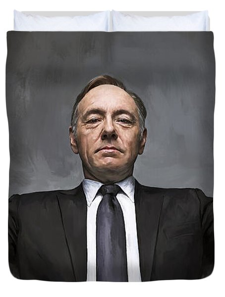 Duvet Cover featuring the painting House Of Cards Artwork by Sheraz A