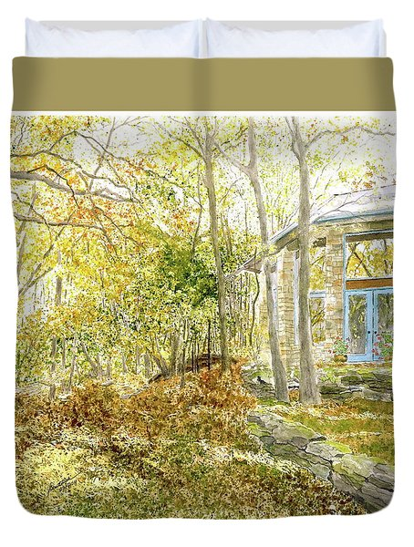 House On Grandmother Mountain - Golden Moments  Duvet Cover by Joel Deutsch