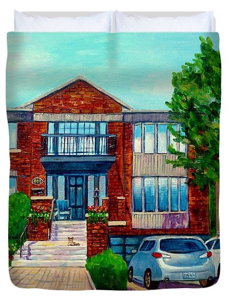 House Portrait-house  Art-commissioned  Montreal Paintings-carole Spandau Duvet Cover