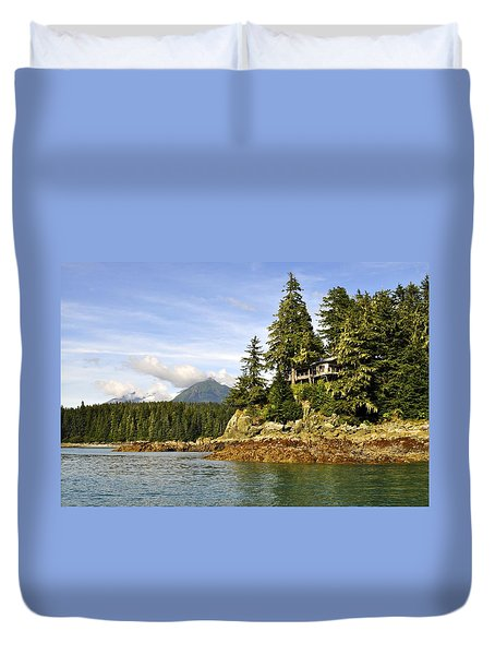 Duvet Cover featuring the photograph House Upon A Rock by Cathy Mahnke