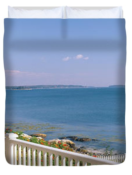 House With A View Of Spruce Head Duvet Cover