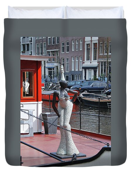 Duvet Cover featuring the photograph Houseboat Chanteuse by Allen Beatty