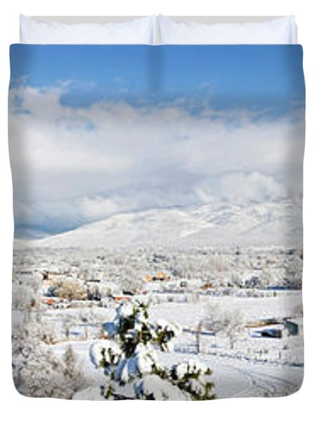 Houses And Trees Covered With Snow Duvet Cover