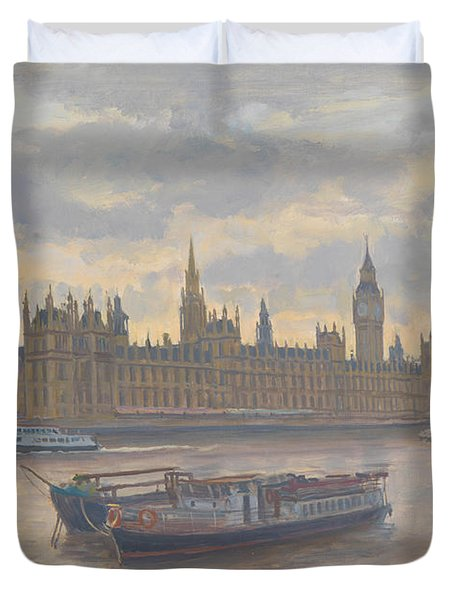 Houses Of Parliament Duvet Cover by Julian Barrow