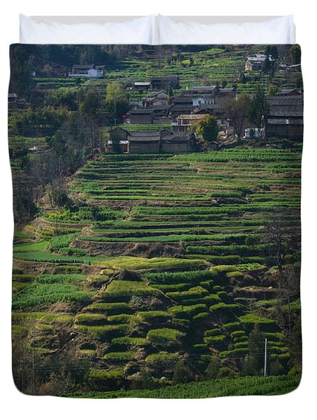 Houses With Terraced Fields Duvet Cover