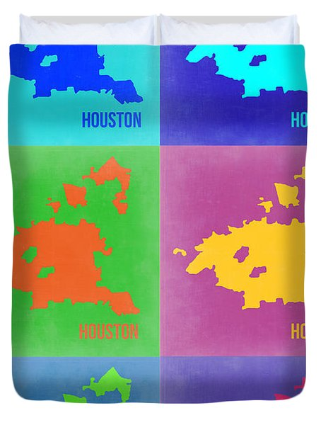 Houston Pop Art Map 3 Duvet Cover