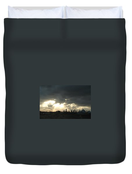 Duvet Cover featuring the photograph Houston Refinery At Dusk by Connie Fox