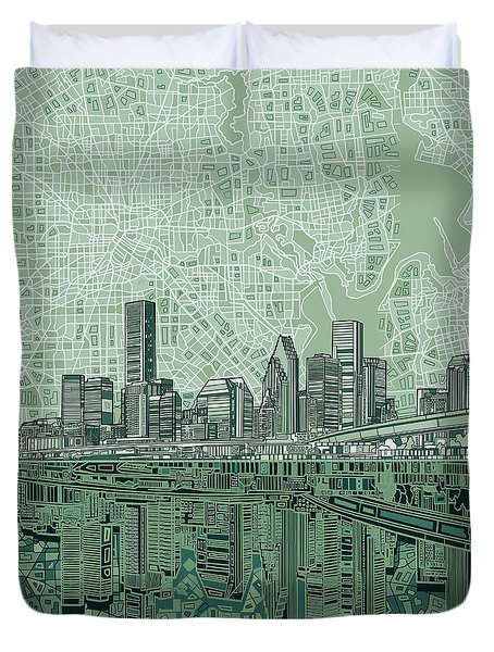 Houston Skyline Abstract 2 Duvet Cover
