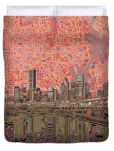 Houston Skyline Abstract 5 Duvet Cover