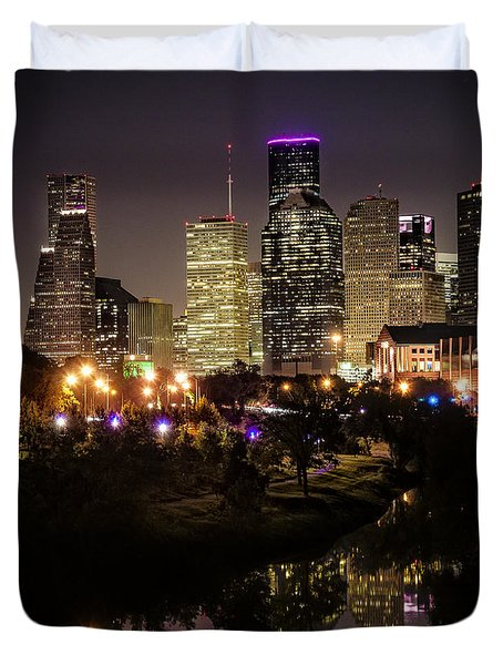 Houston Skyline From Buffalo Bayou Duvet Cover