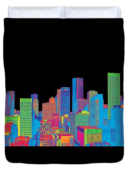 Houston Skyline In Color Duvet Cover by Judy Vincent