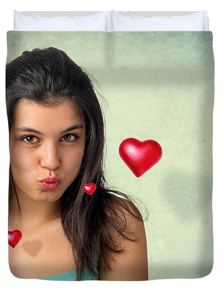 Hovering Hearts Duvet Cover