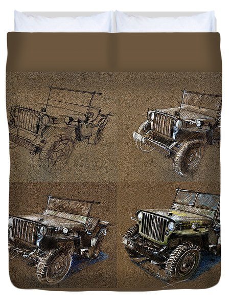 How To Draw A 1943 Willys Jeep Mb Car Duvet Cover by Daliana Pacuraru