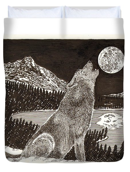 Howling Coyote Full Moon Ho0wling Duvet Cover by Jack Pumphrey