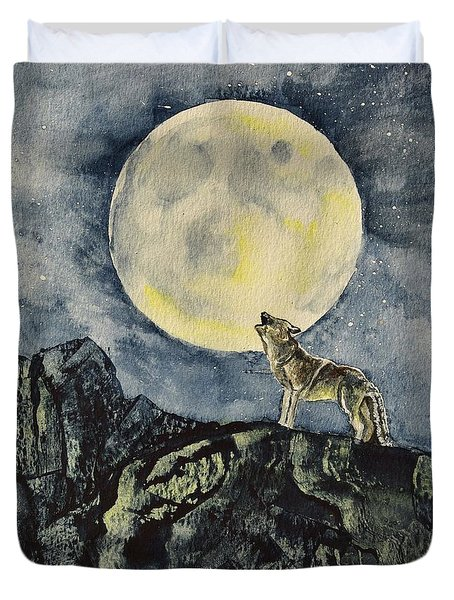 Howling Wolf  In Square Format Duvet Cover