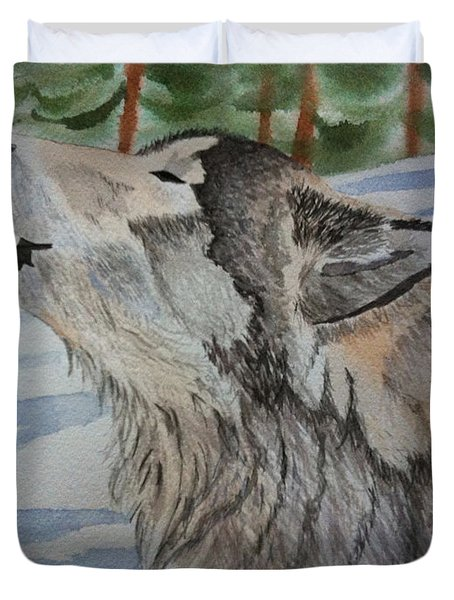 Howling Wolf In Winter Duvet Cover by Brenda Brown