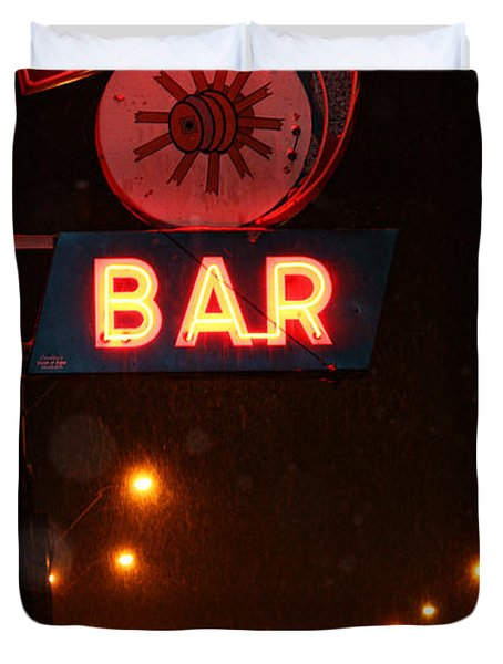 Hub Bar Snowy Night Duvet Cover