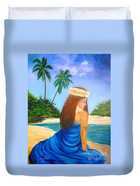 Duvet Cover featuring the painting Hula Girl On The Beach by Jenny Lee