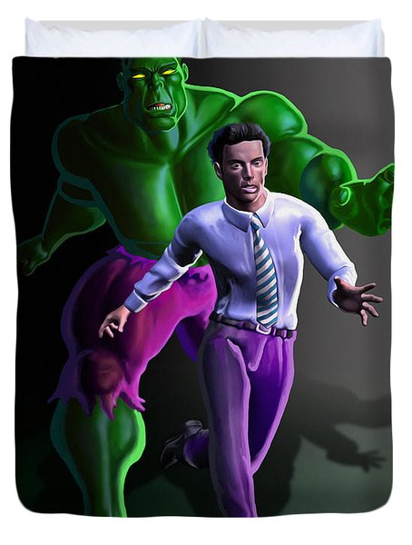 Duvet Cover featuring the painting Hulk - Bruce Alter Ego by Anthony Mwangi