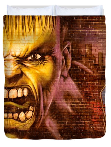 Hulk Graffiti In The Bronx New York City Duvet Cover by Sabine Jacobs