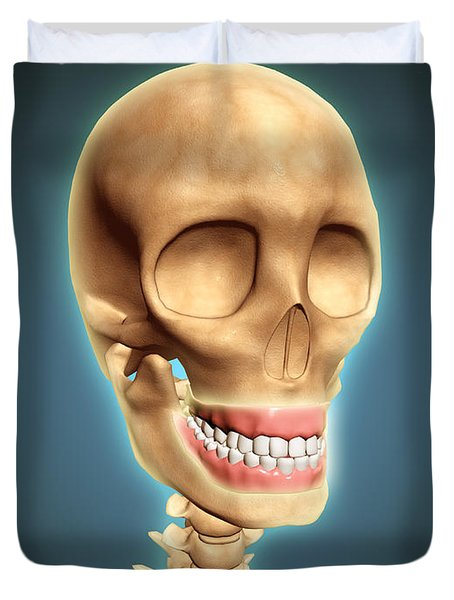 Human Skeleton Showing Teeth And Gums Duvet Cover by Stocktrek Images