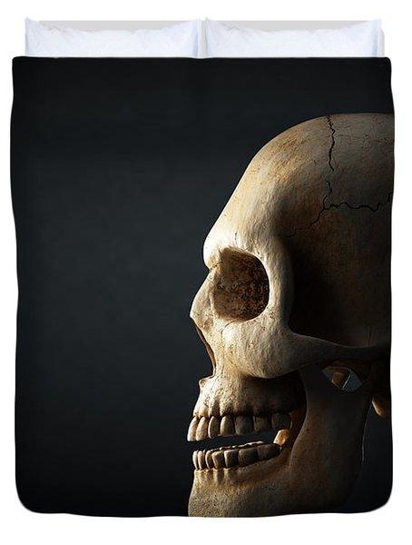 Human Skull Profile On Dark Background Duvet Cover