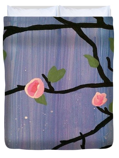 Duvet Cover featuring the painting Humble Splash by Marisela Mungia